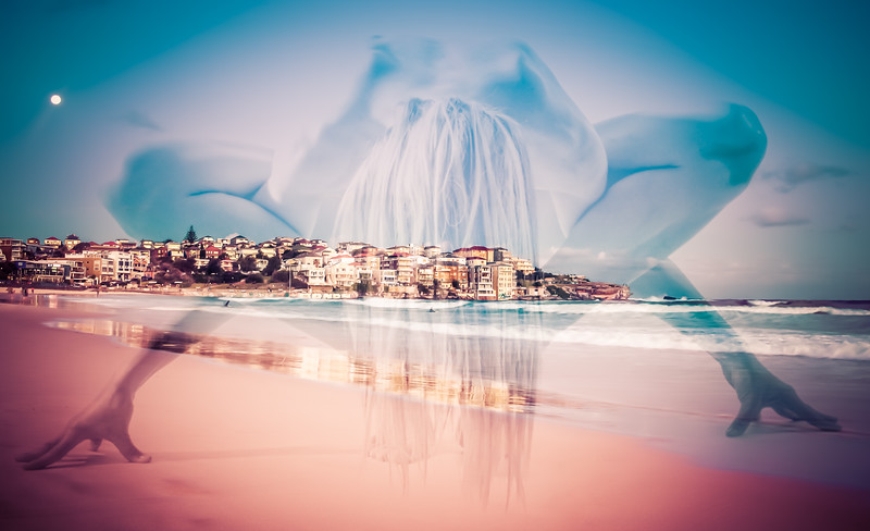 Yoga in moonrise over Bondi