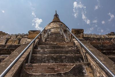 Ascending the Shwe Sandaw pagoda