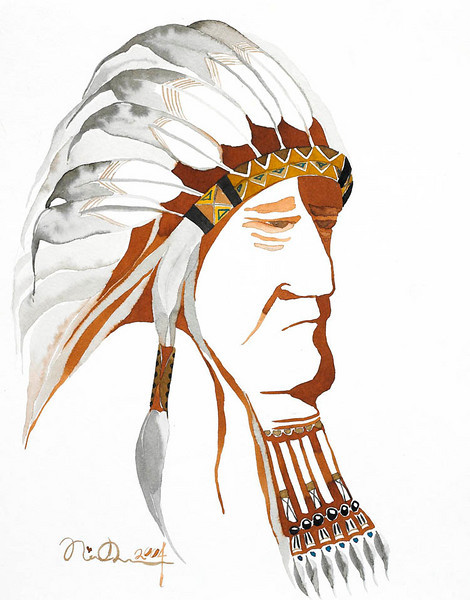 "sitting bull // 11""x14"" / watercolor<br /> original $300.00  / gicllee` $100.00"