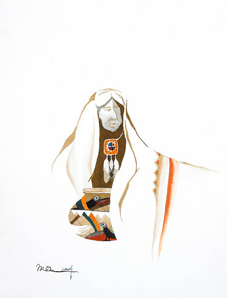 "medicine man //18""x24"" / watercolor<br /> original $500.00 / gicllee` $250.00"