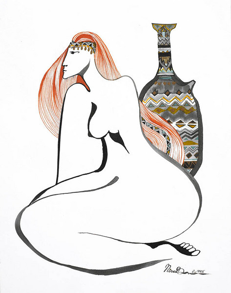 "she // 14""x18"" / watercolor<br /> original $800.00 / gicllee` $250.00"