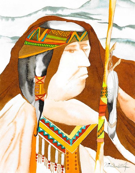 "talking stick // 11""x14"" / watercolor<br /> original $400.00 / gicllee` $100.00"