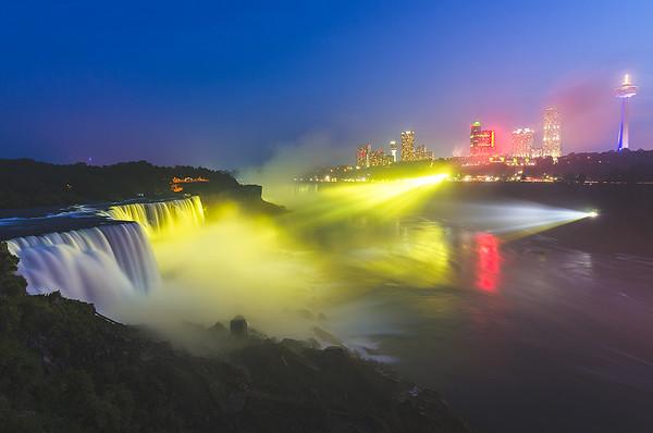 Color Illumination over Niagara Falls, New York (Long Exposure)
