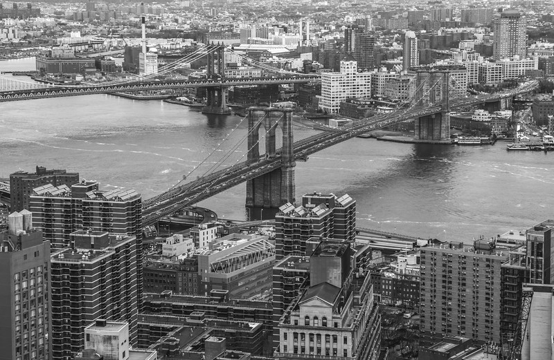 Rooftop view of Brooklyn, the Brooklyn Bridge and Manhattan Bridge.