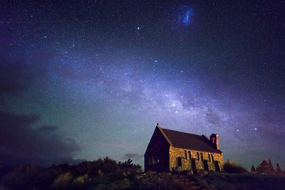Lake Tekapo, South Island, New Zealand: The Church of the Good Shepherd at night. At the top of the picture is a Magellanic Cloud... only visible in the Southern Hemisphere.