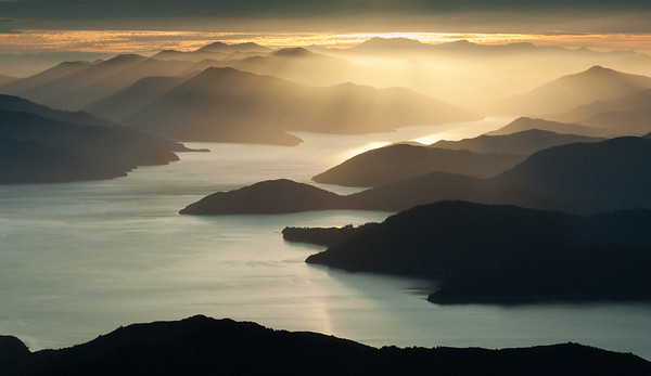Sunset over Marlborough Sound