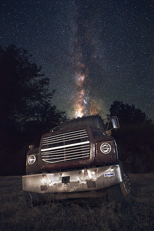 Abandoned Truck under Milky Way at Big Bend National Park, West Texas