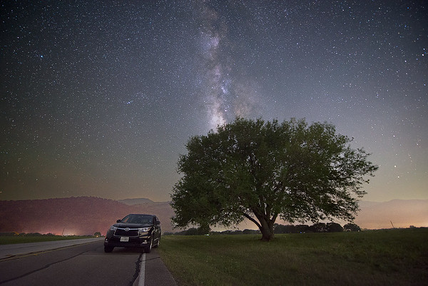 Parked and Relaxing under Milky Way at Big Bend National Park, West Texas