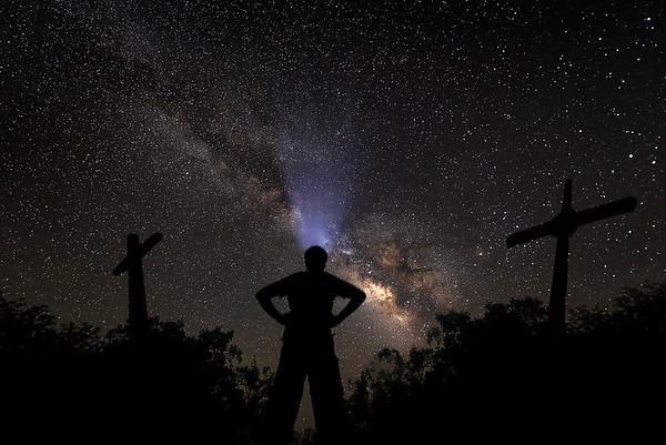 Standing tall overlooking Milky Way at Fort Davis, West Texas