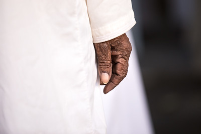 Close up of an old man's hand.