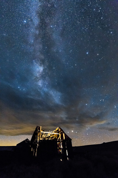 Cloudy Milky Way Over Swayback Barn in Bodie