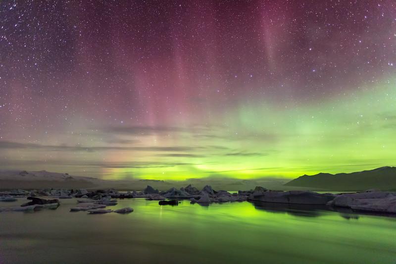 Jökulsárlón Aurora and Distant Clouds