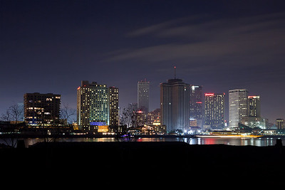 New Orleans, Louisiana The New Orleans skyline at night from across the Mississippi River.