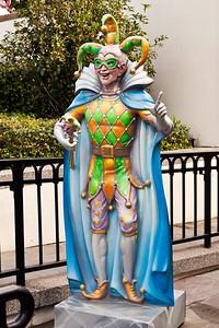 New Orleans, Louisiana Along Decatur Street, a statue of a Mardi Gras Jester.