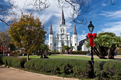 French Quarter, New Orleans, Louisiana The St. Louis Cathedral is the oldest continuously operating cathedral in the United States. It stands to the north side of Jackson Square, which was originally the city center of New Orleans.