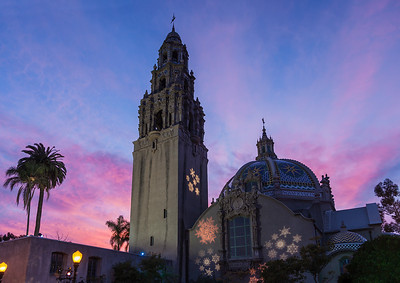 San Diego, California The California Tower and the Museum of Man in Balboa Park at Christmas time.