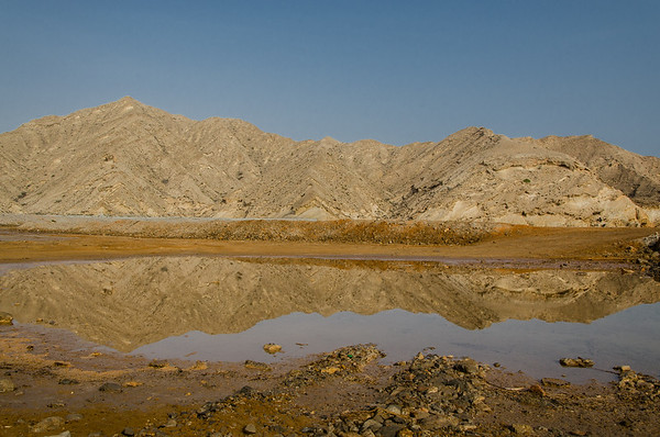 Cliffs reflection, Khasab,