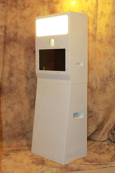 Our photo booth unit #3 - Features 21 inch Touch Screen Monitor , Slideshow Monitor (at the back), On-site printing, DSLR Camera, Studio Strobe Light/Flash.