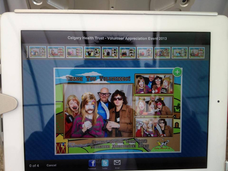 Social (iPad) Station - Instantly post your pictures to Facebook or Twitter. Or forward it to your email.