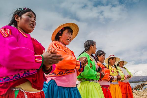 Peruvian traditional women from Uros Island