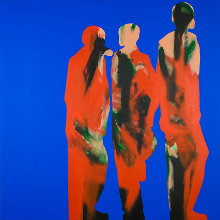 Nightlife In Southall (Three Boys) / acrylic on canvas / 101cm x 101cm / original SOLD / image 8361