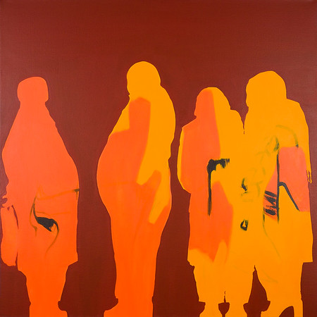 Shoppers (Four Figures) / acrylic on canvas / 101cm x 101cm / original £400 / image 8365