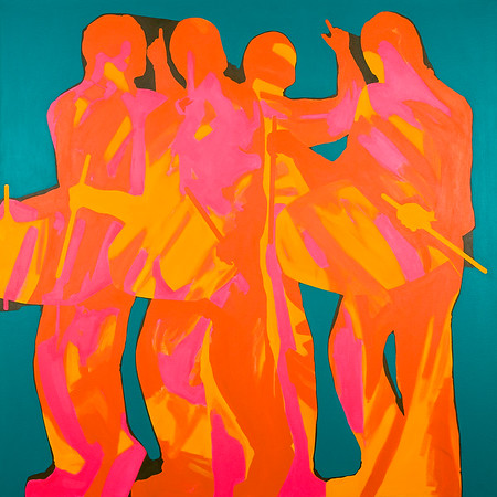 Vaisakhi (Dhol Players) / acrylic on canvas / 130cm x 130cm / original SOLD / image 8471