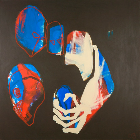 Four Faces (Red/Blue) / acrylic on canvas / 101cm x 101cm / original £625 / image 8368