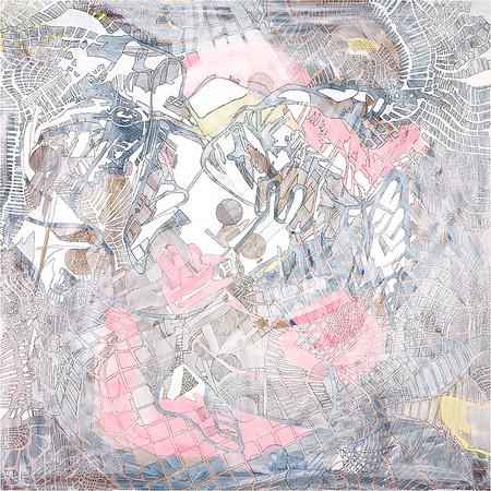 Kissing Sis / mixed media on canvas / 90cm x 90cm / original £450 / image 8385