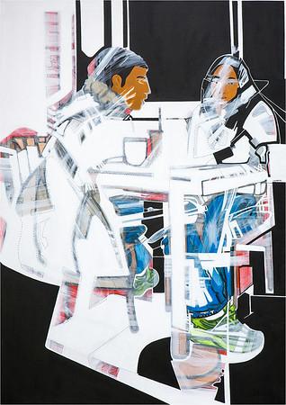 Boy & Girl III / mixed media on canvas / 99.5cm x 69.5cm / original £400 / image 7711