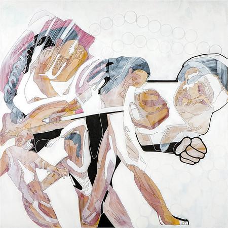 Hormones & Heroes / mixed media on canvas / 90cm x 90cm / original £300 / image 8400
