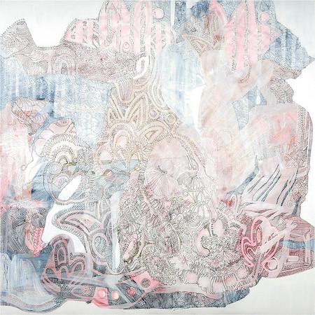 Pink Room Sleeping Habits / mixed media on canvas / 90cm x 90cm / original £285 / image 8388