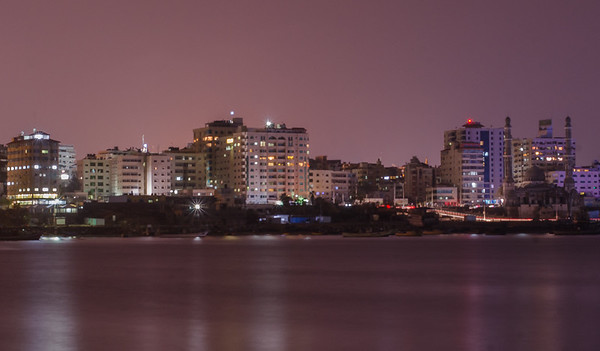 Gaza port by night