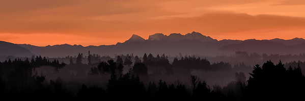 Pre Dawn view of Coastal Mountains near Vancouver BC