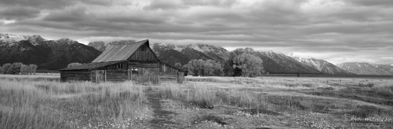 Moulton Barn in Black & White - Panorama