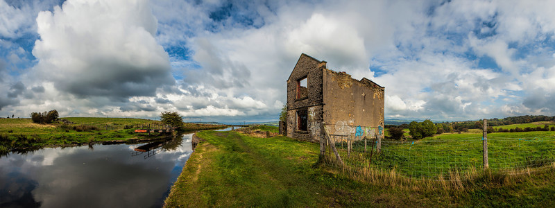 Derelict building bt the Leeds Liverpool Canal near Accrington, Lancashire.