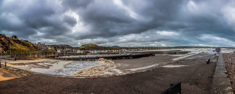 Cullen Harbour, Moray, Scotland on a stormy day.