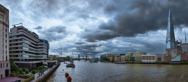 The River Thames, London with Tower Bridge in the distance.