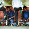 Mumbai shoe polishers at local train station