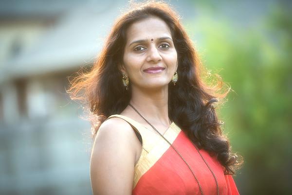 Vijaya in festive mood and attire