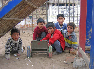 Kids playing in the shanty town of San Juan de Miraflores, Lima