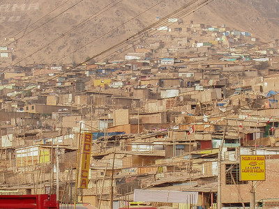 The shanty town of Pamplona Alta in the district of San Juan de Miraflores, Lima