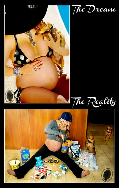 The first in my series of The Dream/The Reality. <br /> <br /> She is a prime example. Pregnant women are shown on tv and in magazines as being these classy, elite woman who must look stunning while being with child...<br /> <br /> The reality...is reading a lot, cravings, stretchy clothes, not doing hair...etc. The dogs really stole the show on this one!<br /> <br /> Click to see a larger version with more details.