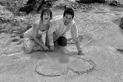 Drawing hearts in the sand. St Thomas, Virgin Islands.