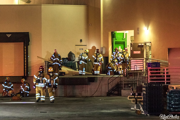 The scene after firefighters worked to extinguish a two-alarm fire at the Seafood City Supermarket in Irvine early Friday morning.