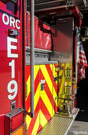 OCFA's Engine 19 waits for a call inside the apparatus bay of Fire Station 19 in Lake Forest.