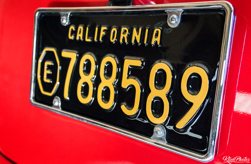 A glossy 1960's California Exempt license plate adorns an older model GMC paramedic van restored by the Orange County Professional Firefighters Association. The paramedic van now rests inside the apparatus bay at OCFA's Fire Station 19.