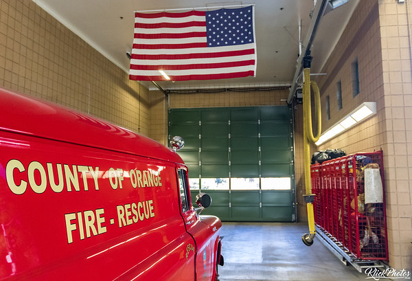 An older model GMC paramedic van restored by the Orange County Professional Firefighters Association rests inside the apparatus bay at OCFA's Fire Station 19.