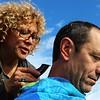 Member and volunteer Natalie Smith gives a hairut to member Robert Brandreth after the morning service in San Francisco Calif. December 14, 2014. ( BAPA/Angelica Ekeke)