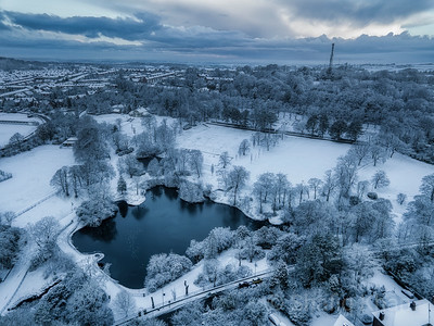 Aerial view of Corporation Park (Snow Cover)